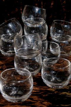 set of 12 six pointed star cut glass roly poly glasses, vintage Susquehanna crystal