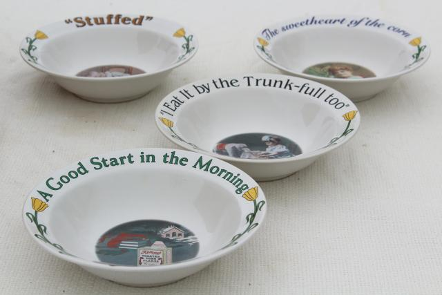 set of 1990s Kellogg's cereal bowls w/ vintage advertising slogans, ad art