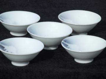Set of 5 sake bowl cups w/  Mt Fuji scene, vintage Japan porcelain