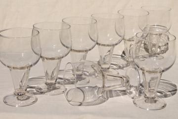 set of 8 hollow stem stout / beer glasses, bottle size goblets vintage Anchor Hocking