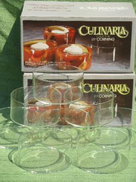 Set of 8 petit souffles, 70s vintage Culinaria clear Corning glass