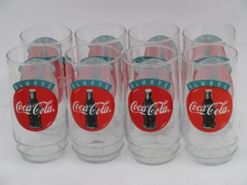 Set of 8 retro Coke glasses, Always Coca-Cola