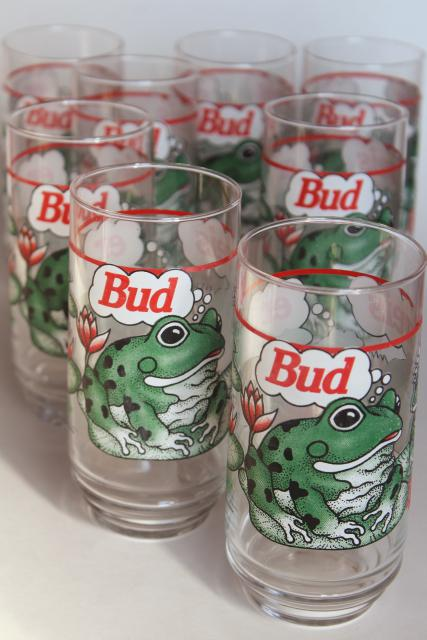 set of 8 vintage Budweiser beer glasses, Bud Weis Er green frogs 1990s