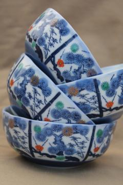Set of old porcelain noodle cups or rice bowls, tree & bamboo china in blue, red & green