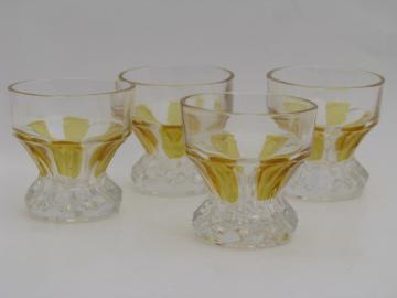 Set of old pressed glass cordial glasses, yellow flash color stain