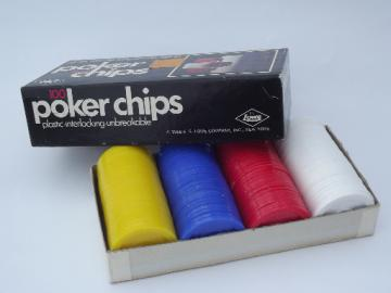 Set of retro plastic poker chips in original vintage box dated 1968