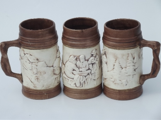 Set of six retro handcrafted ceramic beer steins, vintage 1969