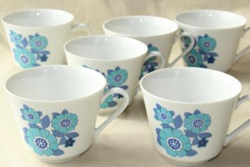 set of six vintage coffee or tea cups, mid-century mod blue daisy flowers china