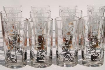 set of vintage drinking glasses, nautical ship sailing theme tumblers