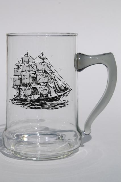 Set Of Vintage Glass Ship Steins Beer Mugs W Tall Ships