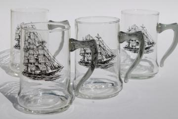 set of vintage glass ship steins, beer mugs w/ tall ships line drawings