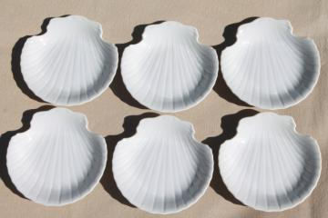 set pure white porcelain scallop sea shell dishes, vintage Japan Lord & Taylor labels