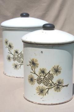 Shabby old rustic pinecones pattern tins, vintage tin kitchen canisters w/ worn paint