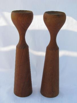 Shapely turned wood candle sticks, mod 60s vintage danish modern