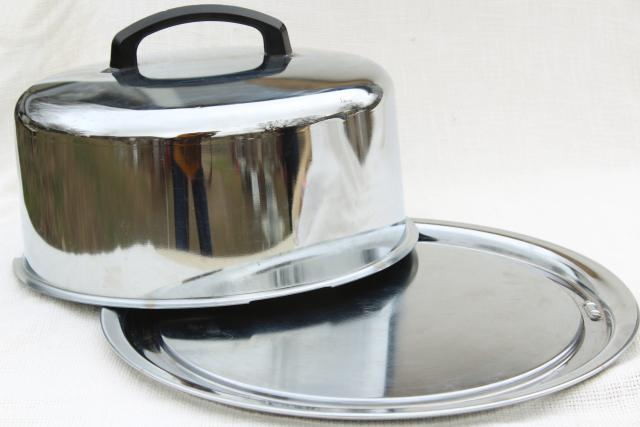 shiny metal cake carrier, cover and plate, 50s vintage stainless steel Everedy Kake Saver