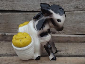 Shy donkey w/ pack baskets salt & pepper shakers, vintage Japan S&P