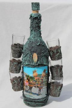 Sicilian liqueur set, rustic shot glasses & liquor bottle w/ donkey cart