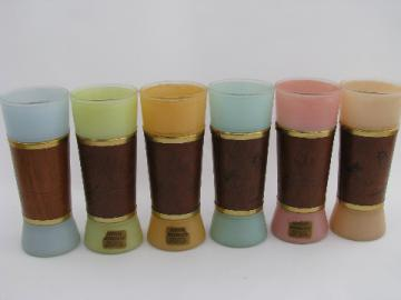 Siesta Ware vintage polynesian tropical drinks bar glasses, retro colors