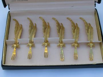 Signed 24 kt gold plated cocktail forks, Tancraft Janis box