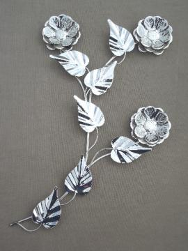 Silver chrome flower wall art, vintage metal sculpture full blown rose