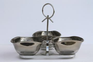 Silver fade glass relish dishes, mid-century mod vintage cocktail snacks serving set