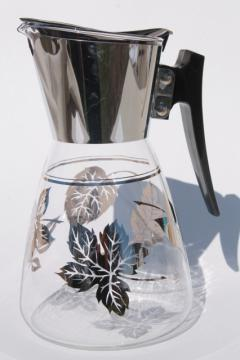 silver foliage vintage Colony glass coffee carafe, heat proof glass pitcher