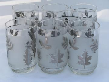 Silver Foliage vintage Libbey glasses, set of 8 glass tumblers