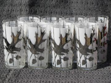 Silver oak and acorn pattern glasses, set of 8 vintage glass tumblers