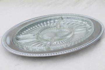 Silvery chrome plate buffet tray, vintage serving tray w/ oval glass relish platter