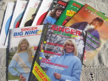 Singer Big Nine knitting machine magazines lot, chunky yarn patterns