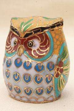 small cloisonne enameled brass owl figurine w/ Beijing China label, Chinese brass w/ enamel