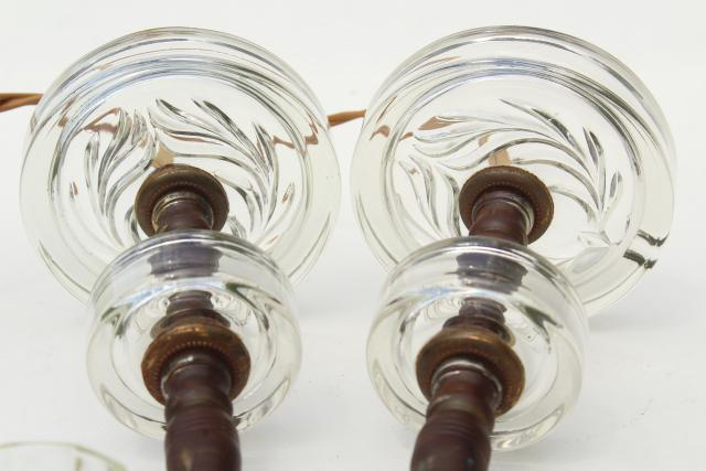small glass lamps for boudoir or vanity table, retro 1950s vintage round glass lamp bases