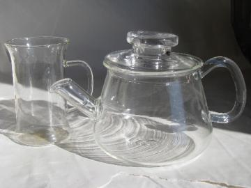 Small glass teapot tea set for one, retro mod clear glass pot & mug