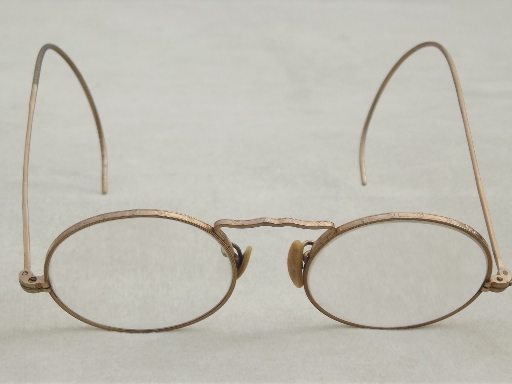 Small Round Gold Wire Glasses Vintage Eyeglasses W Gold