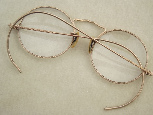small round gold wire glasses vintage eyeglasses w gold filled frames