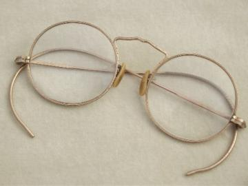 Small round gold wire glasses, vintage eyeglasses w/ gold filled frames