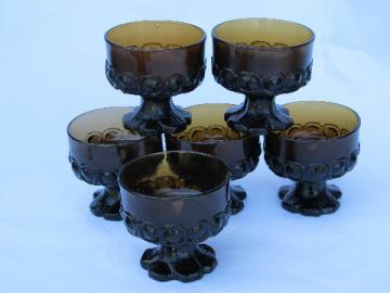 Smoke brown 70s vintage Madeira pattern mod chunky glass sherbets