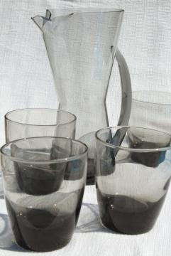 smoke grey bar glasses & pitcher w/ mod hourglass shape, vintage cocktail set