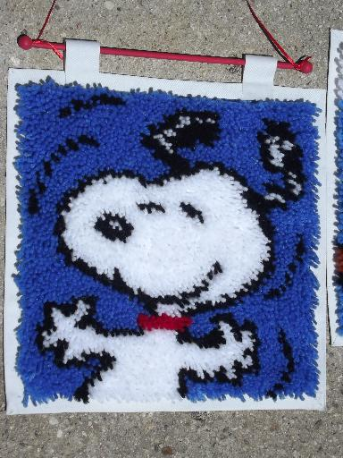 Snoopy and Woodstock, retro 70s vintage Peanuts latch hook wall hangings
