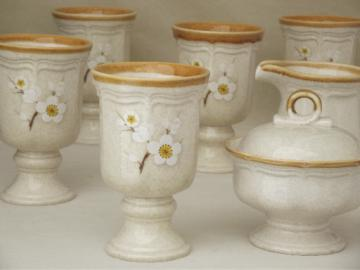 Snow Blossom Mikasa vintage stoneware goblets and cream & sugar set