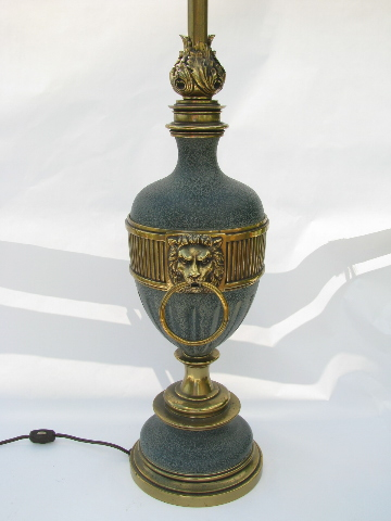 Solid Brass Table Lamp Vintage Stiffel Flame Amp Lion S Heads