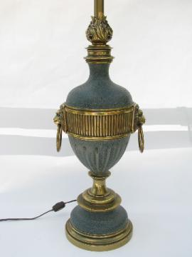 Solid brass table lamp, vintage Stiffel, flame & lion's heads