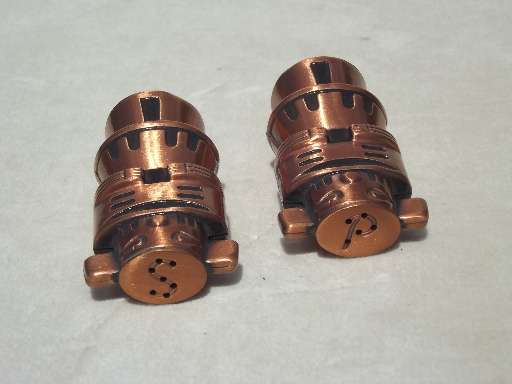 Solid copper Indian totem pole salt & pepper shakers, vintage S&P set