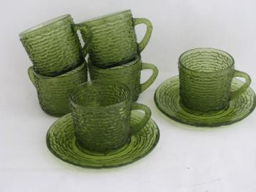 Soreno pattern vintage glassware, glass cups & saucers, retro avocado green