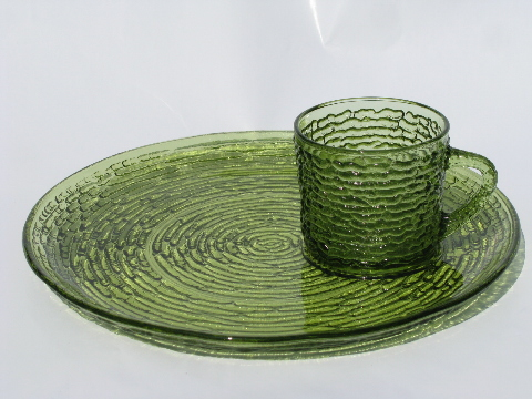Breathtaking Vintage Glass Snack Trays With Cups Images - Best Image ...