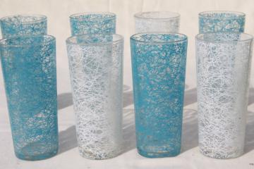 spaghetti squiggle drizzle glass coolers, tall tumbler drinking glasses, mid-mod vintage