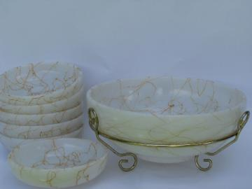 Spaghetti string retro vintage gold & white glass salad bowls set