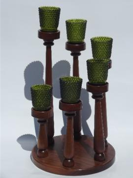 Spiral of candles vintage walnut wood candle holder w/ green glass votives