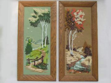Spring & Autumn, retro vintage paint by number pictures, wood frames