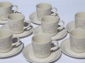 Spring Pond Corelle, 8 cups & saucers vintage Corning ware glass